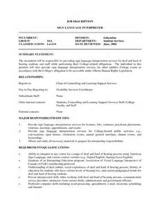 Interpreter Resume Sle by Interpreter Resume Objective 28 Images Resume Template 25 Cover Letter For Interpreter