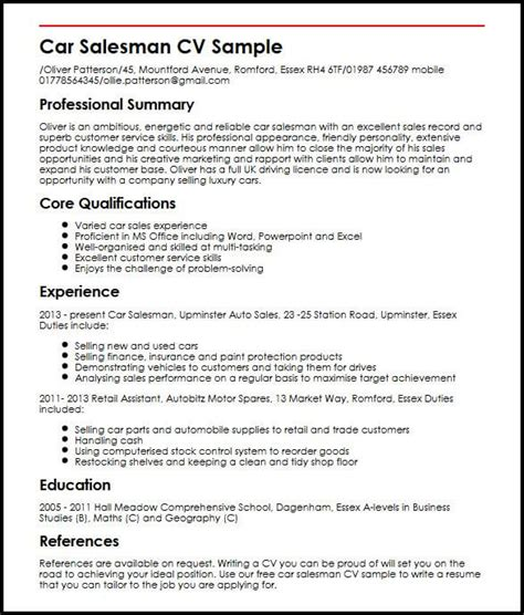 Car Salesman Resume Exle by Car Salesman Cv Sle Myperfectcv