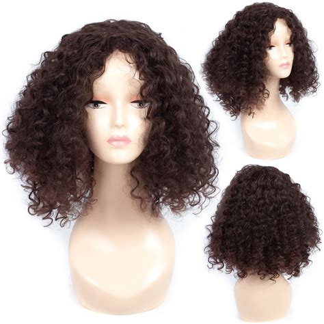 Short Curly Hair Wig Full Hair Wig Dark Brown Hair