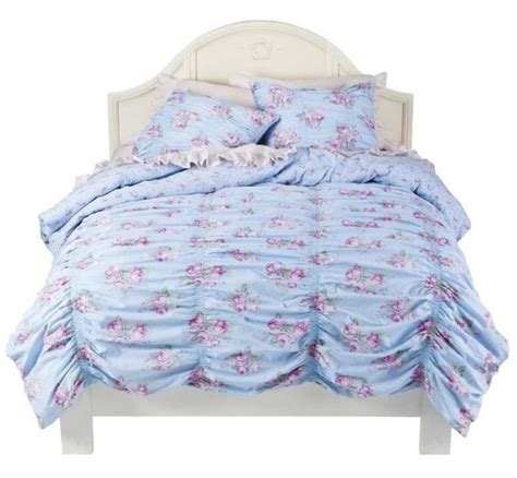 simply shabby chic blue blanket rachel ashwell simply shabby chic ruched cabbage rose twin duvet cover sham set ebay