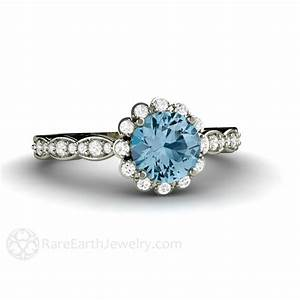 Aquamarine engagement ring aquamarine ring diamond halo aqua for Wedding rings aquamarine