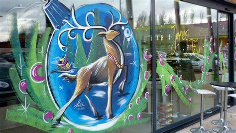 decoration vitrine peinture noel commercant 0698180366