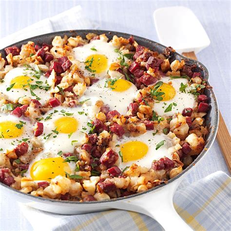 Remove the corned beef from its packaging in the sink and reserve the spice packet. Corned Beef Hash and Eggs Recipe | Taste of Home