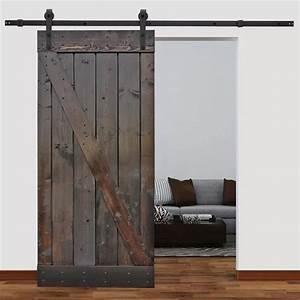 Calhome solid wood panelled pine slab interior barn door for 40 inch interior barn door