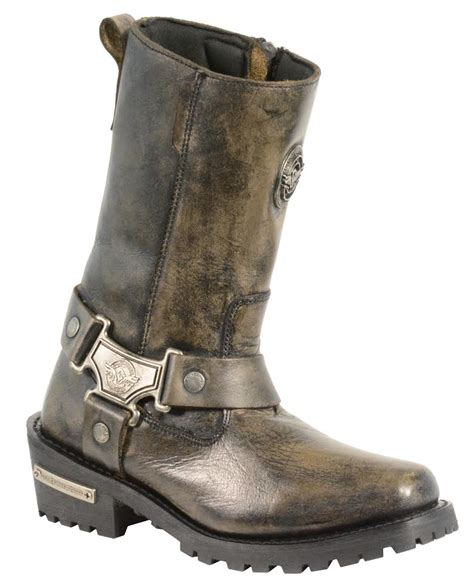 real leather biker boots ladies motorcycle genuine leather distressed brown inch
