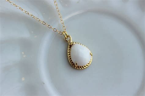 Gold White Opal Necklace Cream Ivory Jewelry