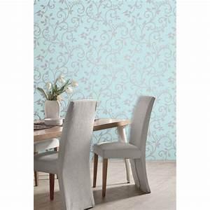 Fine Decor Live Love Laugh Scroll Wallpaper Teal / Silver ...