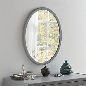 Dark, Grey, Framed, Oval, Wall, Mirror, 54, 5, X, 64, 5cm