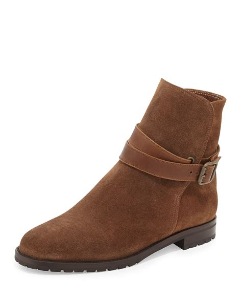 brown moto boots manolo blahnik sulgamba suede moto boots in brown lyst
