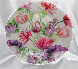 tulip plate tulip bouquet decorative decoupage by