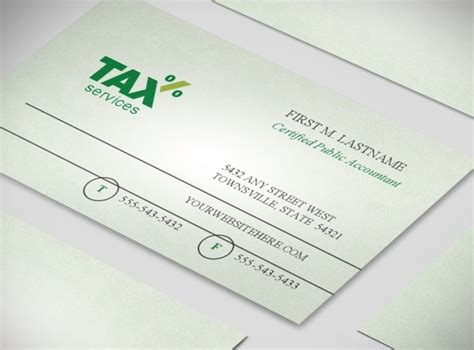 accounting tax services business business card templates