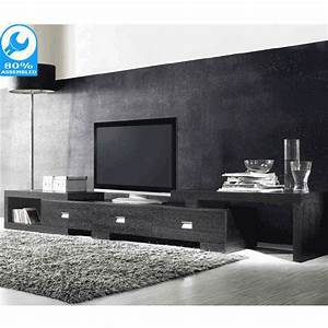 Extendable Oak TV Cabinet with 3 Drawers in Black | Buy ...