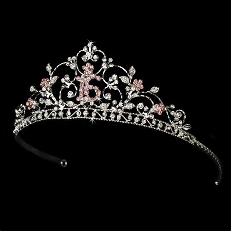 silver rhinestone sweet sixteen 16 sparkling sweet 16 rhinestone tiara with a center pink 16