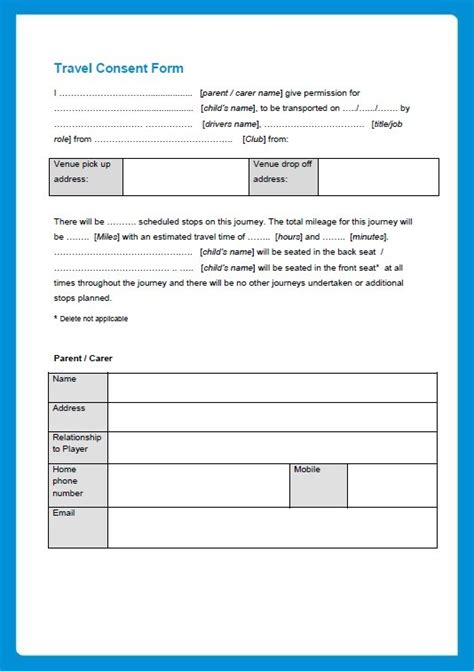 sample travel consent form printable samples