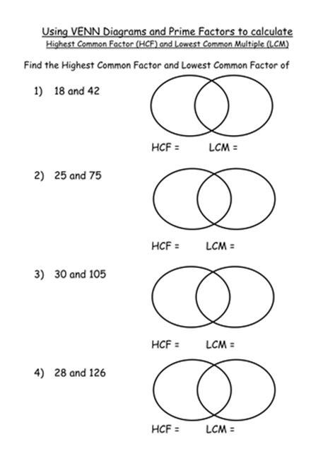 maths ks4 worksheet hcf and lcm venn diagram pfd by