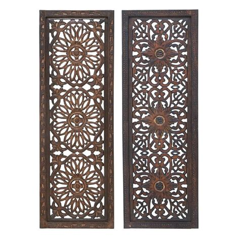 Cosmoliving by cosmopolitan 2 piece metal/wood wall décor set. Woodland Imports 2-Piece 12-in W x 36-in H Framed Wood Abstract Sculptural Wall Art at Lowes.com