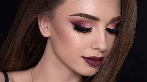 bold lips burgundy smokey eye makeup tutorial    makeups