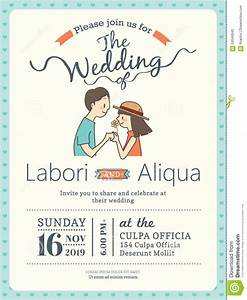 wedding couple groom and bride cartoon wedding card With wedding invitation template html5
