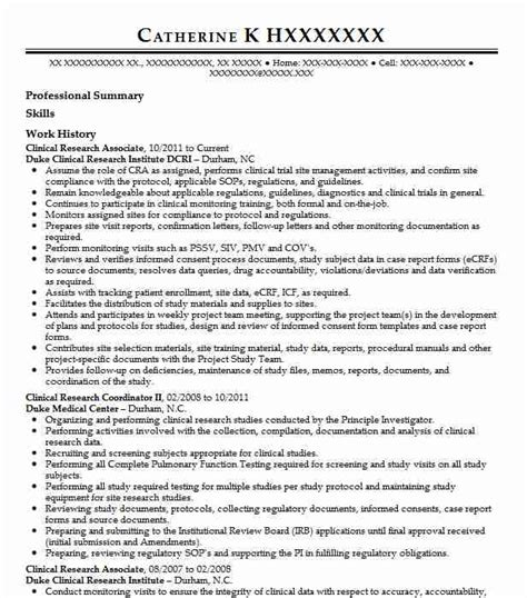 Research Associate Resume by Clinical Research Associate Resume Sle Resumes Misc