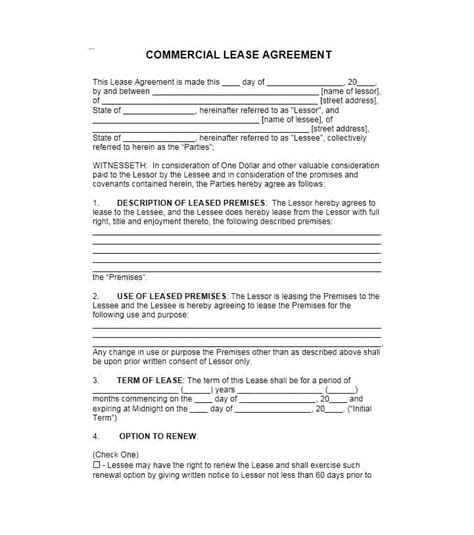 commercial lease agreement templates templatelab