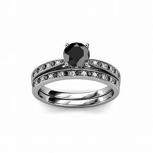 bridal set ring black and white diamond four prong With work wedding rings