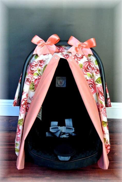 canopy car seat shabby chic carseat canopy car seat cover coral baby