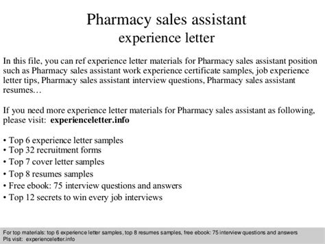 the pharmacist letter pharmacy sales assistant experience letter 11766