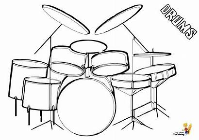 Musical Drums Coloring Colouring Easy Drum Kit
