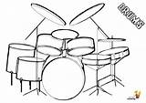 Musical Drums Coloring Colouring Easy Drum Kit Instrument Percussion Yescoloring Snare Majestic sketch template