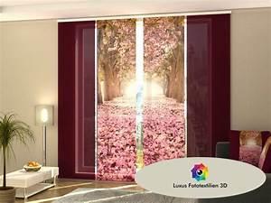 Gardinen Auf Maß : schiebegardine magnolienallee schiebevorhang 4 er set in luxus fotodruck 3d auf ma kaufen bei ~ One.caynefoto.club Haus und Dekorationen