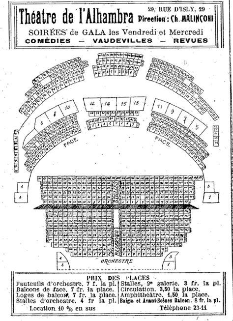 theatres plan de la salle de l alhambra et prix des places rue d isly casino http alger roi fr