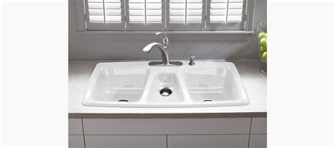 three basin kitchen sink trieste top mount kitchen sink with four faucet holes k 6104