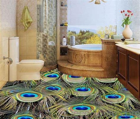 Peacock Feather Luxury 00014 Floor Decals 3D Wallpaper