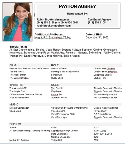 resume exle 28 child acting resumes child acting