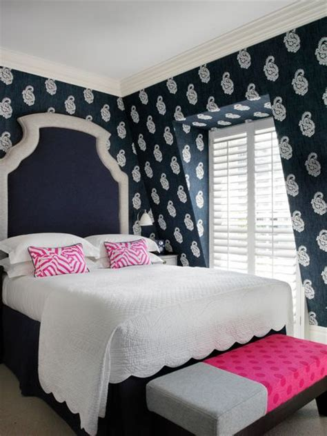 Pink And Navy Blue Bedroom  Contemporary Bedroom