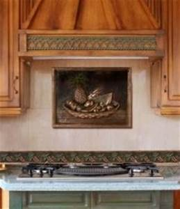 Backsplash With Metal Mural Traditional Kitchen