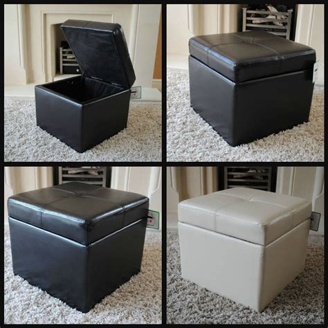 Leather Ottoman Footstool by New Real Leather Brown Black Ottoman Box Storage