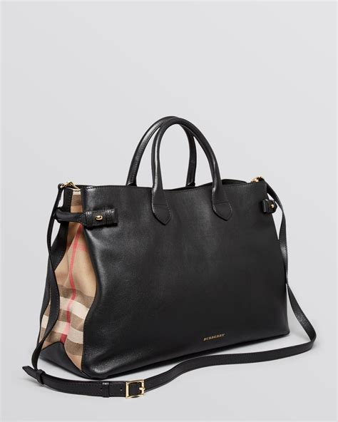 lyst burberry tote house check sartorial large banner  black
