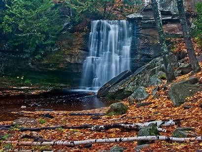 Screen Desktop Waterfall Autumn Wallpapers Leaves Trees