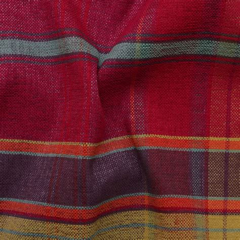 Discount Designer Upholstery Fabric designer discount linen look tartan check plaid curtain