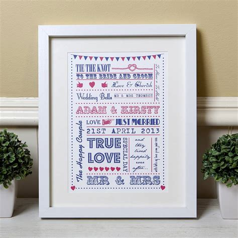 personalised typography wedding gift print by lovely jubbly designs notonthehighstreet com