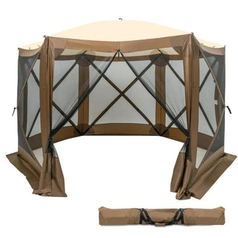 casainc  ft   ft brown portable pop   sided canopy instant gazebo screen tent wfopcf