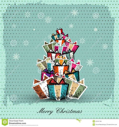 vintage christmas card  gift box royalty  stock