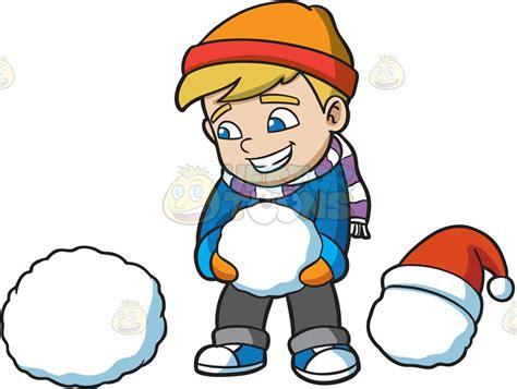 A Boy Stacking Snowballs To Build A Snowman Cartoon