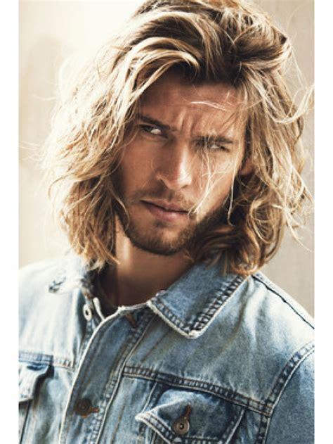blonde mens wavy long hair wigs capless  style