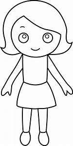 Little Girl Coloring Page - Free Clip Art
