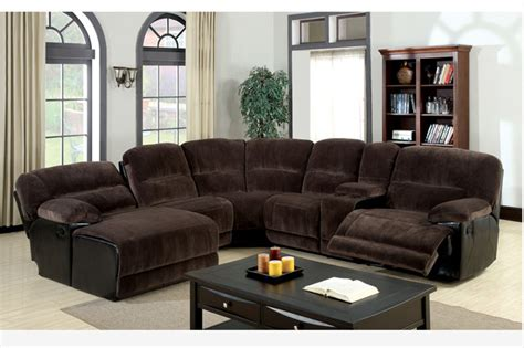 Traditional Brown Microfiber Reclining Sectional Sofa