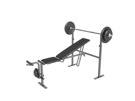 weight bench  barbell  plate rack  model dsmax files   modeling