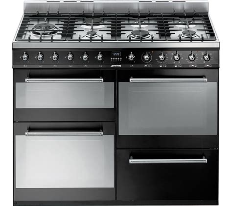 buy smeg syd4110bl 110 cm dual fuel range cooker black stainless steel free delivery currys