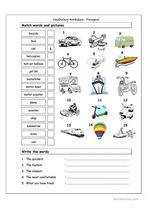 vocabulary matching worksheet transport worksheet free